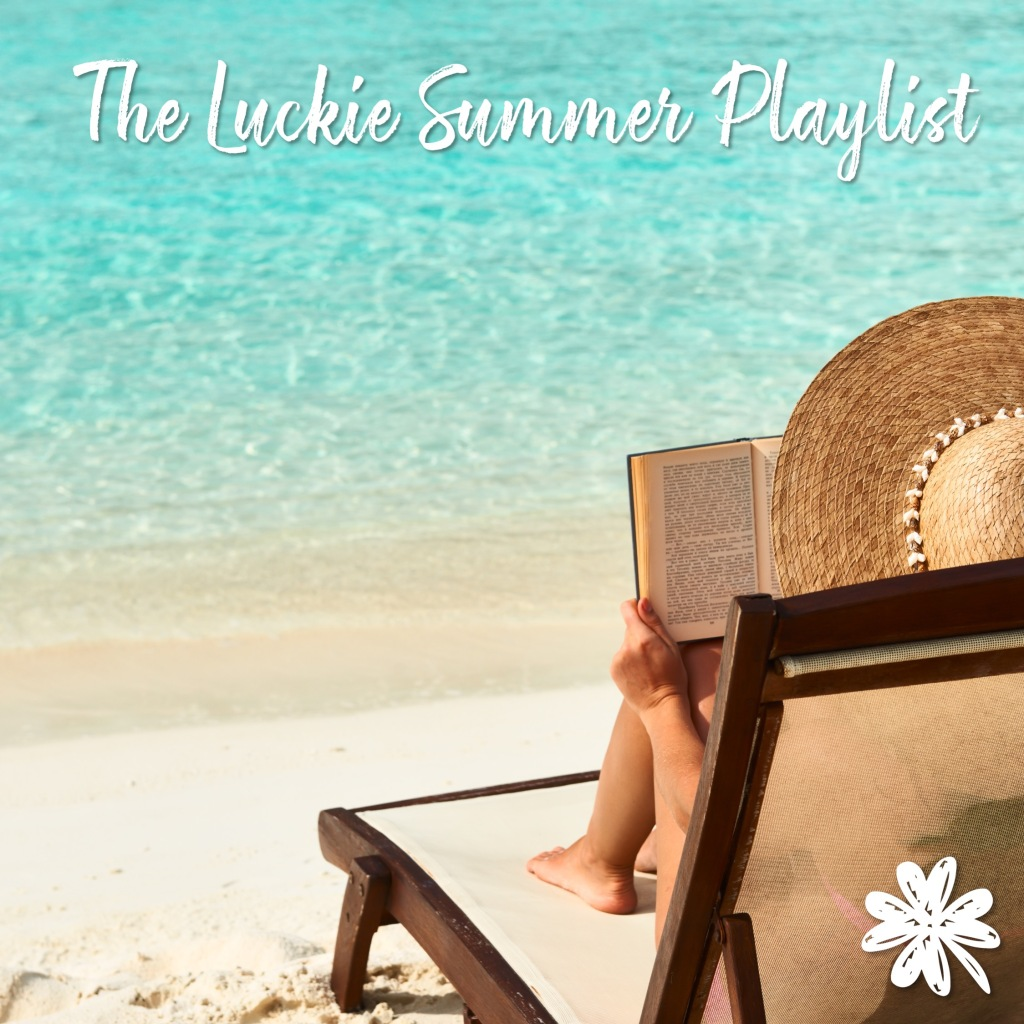 Title: The Luckie Summer Playlist, over an image of a woman reading on a beach.