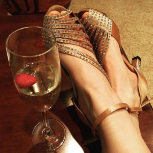 Sparkly shoes, check. Bubbly cocktail, check. Ready to watch the Oscars!