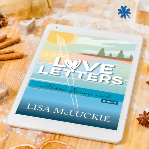 Tablet showing the book cover for Love Letters